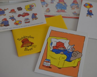 Vintage unique rare Paddington Bear greeting cards, set of writing papers, notes stickers