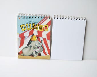DisneyDumbo Circus Elephant Little Golden Book Upcycled Sketchbook Notebook, Drawing Pad