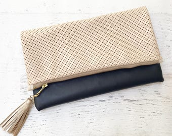 Perforated Champagne & Black Faux Leather Foldover Clutch - Gift for her, Birthday, Anniversary, Bridesmaid, Bride