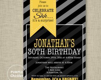 Surprise 30th Birthday Invitation Mens Masculine Invite Yellow Black Gray Party Invite Stripes Adult Party Invite Printable Invite 345