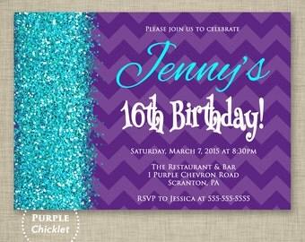 16th 30th Any Age Purple Birthday Invitation Cyan Aqua Glitter Surprise Party Invite Chevron Purple Printable Adult Kid Party Invite 261