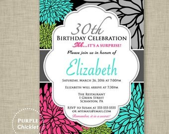 Pink Aqua Lime Flower Invitation ANY AGE 30th 40th 60th 80th Birthday Invitation Surprise Invite Kids Floral Invite Adult Party 321