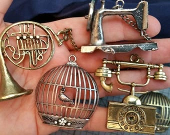 Large charm pendent   CHOOSE 1, Telephone, sewing machine, trumpet or birdcage. Antique silver or gold bronze, vintage look.