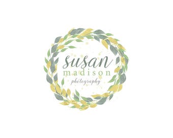 Watercolor Business Logo, watercolor design, photography, watermark, painted, leaves, circle - Newborn photography logo, maternity logo