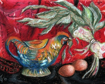 """Original Pastel Painting, FREE SHIPPING Worldwide, 8"""" x 11"""", Still Life, Wall Decor, Year of the Rooster, Chinese new Year, Chicken"""