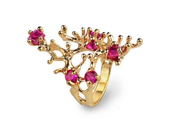 REEF Gold Ruby Ring, Gold Ruby Statement Ring, Organic Ring, Ruby Cluster Ring, July Birthstone, Sea Inspired Jewelry