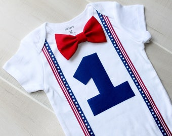 Ready to SHIP! Fourth of July Baby Boy Birthday Outfit, Fourth of July Outfit, Red, White and Blue Outfit