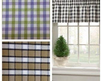 Straight Curtain Valances with Cottage Chic Check Plaid  Fabric