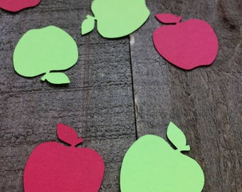 Red and Green Apple Confetti / Back to School Party Teacher Decor Decoration Table Scatter Scrapbook Embellishments C081