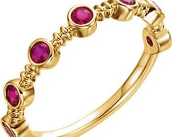 Ruby 14K Yellow Gold Ring, Bezel Gemstone Band, Alternative Engagement, Anniversary
