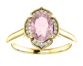 25% OFF Morganite Diamond 14K Yellow Gold Vintage Floral Style Halo Engagement Ring, Oval Gemstone