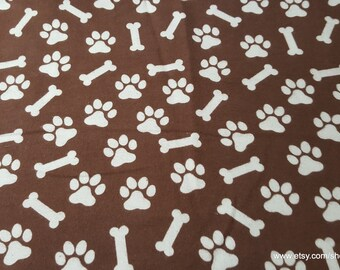 Flannel Fabric - Dog Print Brown - 1 yard - 100% Cotton Flannel