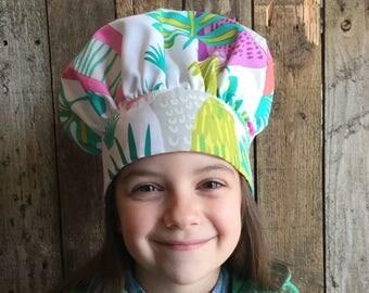 Child's Chef Hat, Parrots,  adjustable Velcro back
