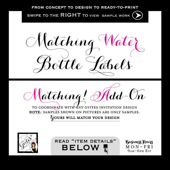 Matching Labels - Water bottle labels Add-on - To Coordinate with any Gvites invitation design. Turnaround 3 Business Days