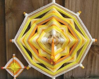 "12"" Mandala Woven Yarn Art - Ojo de Dios Wall Hanging - Plus Mini Ojo"