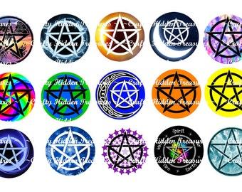 "Pentacle / Pentagram / Pagan images 1"" Bottle Cap Digital Image - 4x6 1 inch Digital Collage sheet"