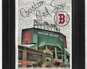 Buy2get1free, Boston Red Sox, Fenway Park Vintage Dictionary Page, art print, Wall Decor, Wall Art