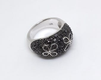 Sterling Silver Ring, Silver Ring, Black Swarovski Crystal Ring, Flower Figure Ring