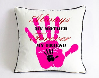 mothers day pillow-mom and me pillowcase-mothers day gift from daughter-mom and son cushion-big hand small hand print-mom and baby decor