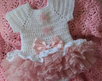 "Crochet white with pink ruffled ""onsie"" set...this one is adorable"
