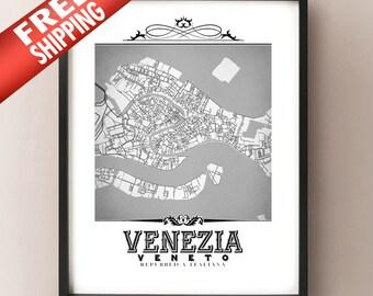 Venezia Vintage Style Black & White Map Art Print - Venice, Italy City Map Decor