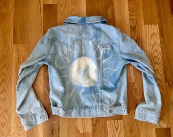 Custom Bleach Dyed Vintage Denim Jacket