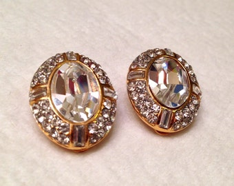 Sale- Vintage Givenchy Paris Brilliant Crystal Rhinestone Clip On Earrings- Bridal