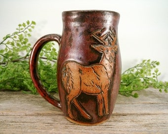 Buck Mug - 16 oz - Copper - Wheel Thrown and Hand Carved Coffee Cup