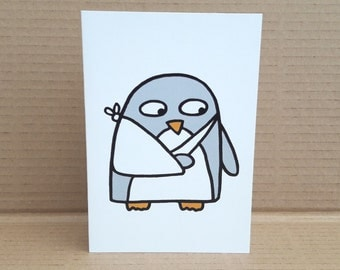Get Well Card - Broken Arm - Penguin - Broken wrist- elbow - Sling -Dislocated shoulder