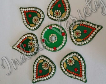 US Seller - Rangoli,Acrylic,Floor Art,Diwali, Festive Rangoli,Pongal,Onam, Wall Art,Rhinestone, Bead,Stones