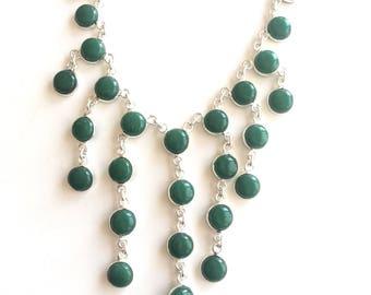 Chrysoprase Boho Style Sterling Silver Necklace