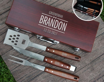 Personalized BBQ Tool Set Engraved with Groomsman Design Options and Font Selection including Three Piece Tool Set in Case (Each)