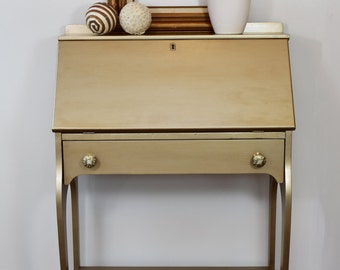 gold secretary desk small metallic painted drawer shelf mother of pearl knobs antique vintage