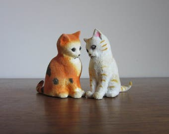 Very Vintage Flocked Kittens, Retro Fuzzy Cats, Small, Flocked Animal Figurines, Cat Lovers Gift, Orange Cat, White Cat, Spotted Striped
