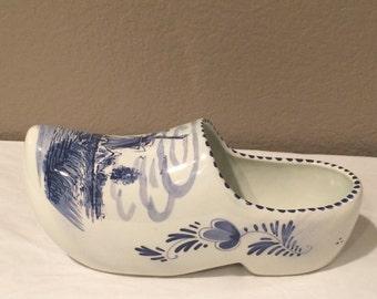 Vintage Large Jumbo Delft Blue Dutch Holland - Hand Painted Ceramic Large Clog / Shoe - Collectible