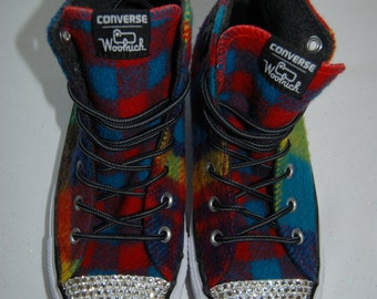 W7 / M5 Unisex plaid multicolor woolrich high top Converse with white rhinestones