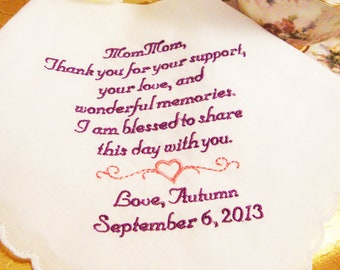 Custom Embroidered Handkerchief - Personalized Grandmother of the Bride Handkerchief - FREE Gift Box -  Embroidered Wedding Handkerchief