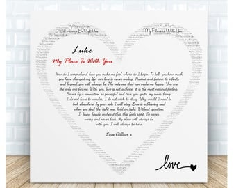 My Place is With You Love Poem Ceramic Plaque. Personalised Gift.