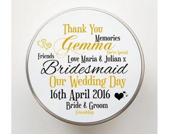 Friendship Bridal Party Personalised Tin - Bridesmaid, Maid of Honour, Chief Bridesmaid