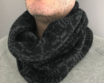 Mens cowl, Mens geometric knitted cowl, fathers day gift, lambswool cowl, mens snood, mens cowl scarf, gift for him, camping gift, knit cowl