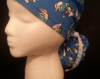 Dr. Smurf Blue Smurfs Ponytail Ribbon Tie Back Surgical Scrub Hat
