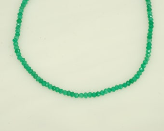 3mm Faceted Round Green Onyx Bead