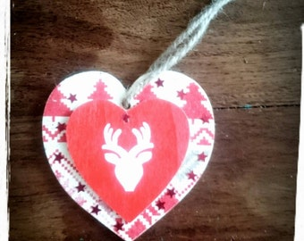 Set of 3 wooden Christmas ornaments,Wooden hearts,Forest animals,Hanging hearts,Wooden Christmas decorations,