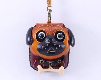 Handmade leather bull dog wristlet coin purse