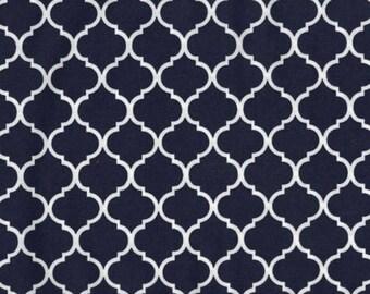 Mini Quatrefoil Fabric White on Navy 100% Cotton