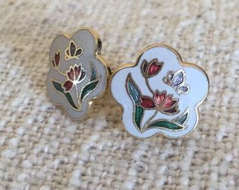 Vintage Enamel Stud Earrings Cloisonne Flower Studs Tiny Floral Earring Retro 1980 1990 Gold Trim Edge