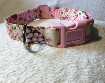 Pink Patchwork Dog Collar