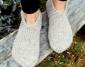 Hand knit wool slippers, Hand knit wool slipper socks, Hand knit slippers, Knitted Wool Slipper Socks, Knit Indoor Clogs, Christmas Gift