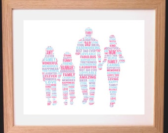 Personalised Family Word Art Gift  - mum, dad and two daughters