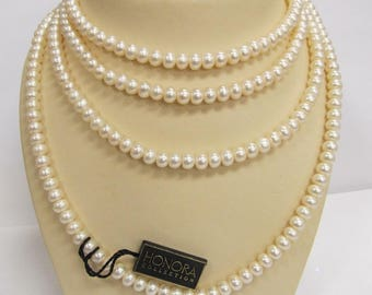 Genuine HONORA Long Pearl Necklace W #717